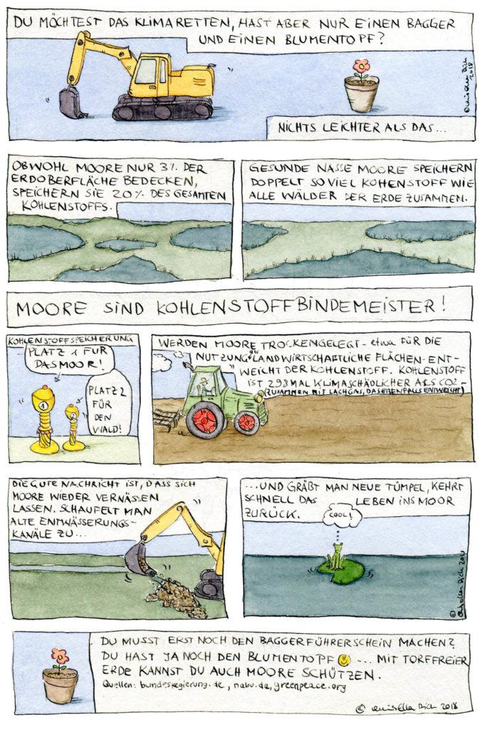 Klimaretter mit Bagger und Blumentopf. Comic über Moore, 2018. © Chris Ella Dick 2018.